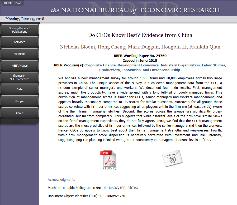 Hong Cheng's Paper in Cooperation with Stanford University Scholars Published by U.S. NBER